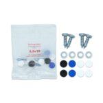 Kennzeichen Schrauben, Kennzeichenschrauben mit Abdeckkappen in blau, schwarz und weiß