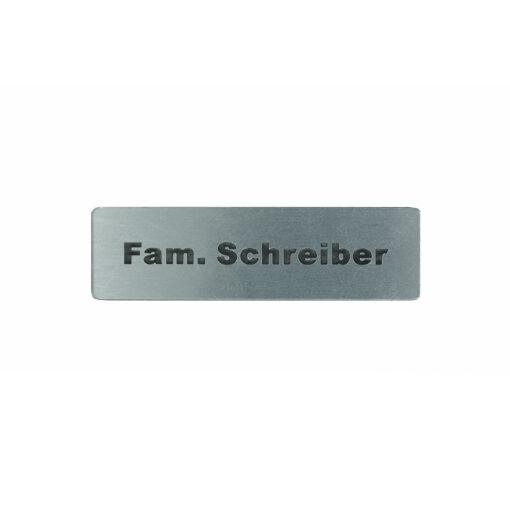 Briefkastenschild Familie Name Aufkleber Edelstahl glatt Optik