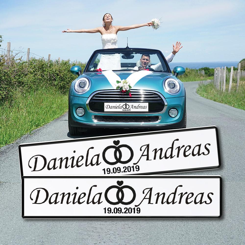 Paarschild Hochzeit mit Datum für das Auto