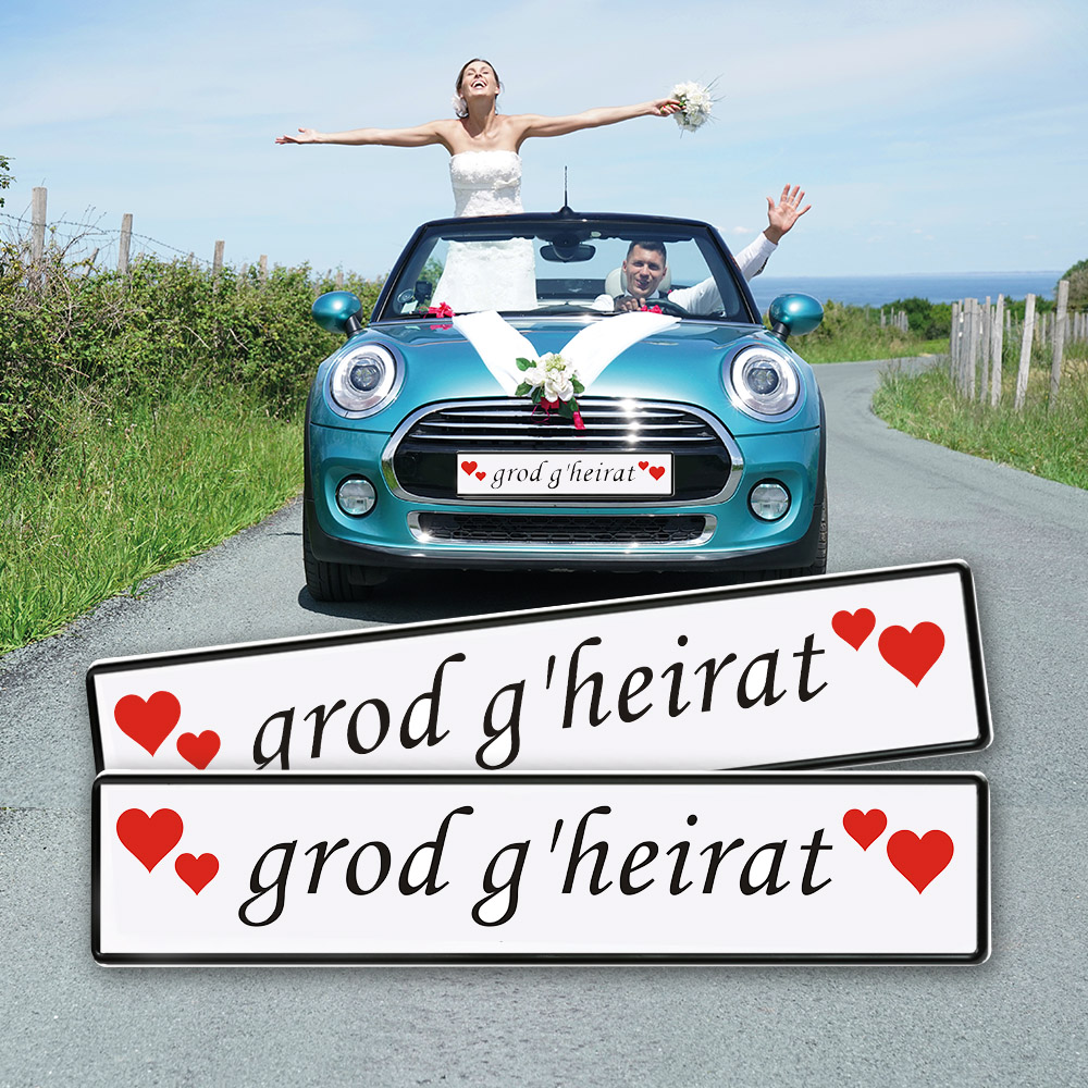 Grod Heirat Schild Auto