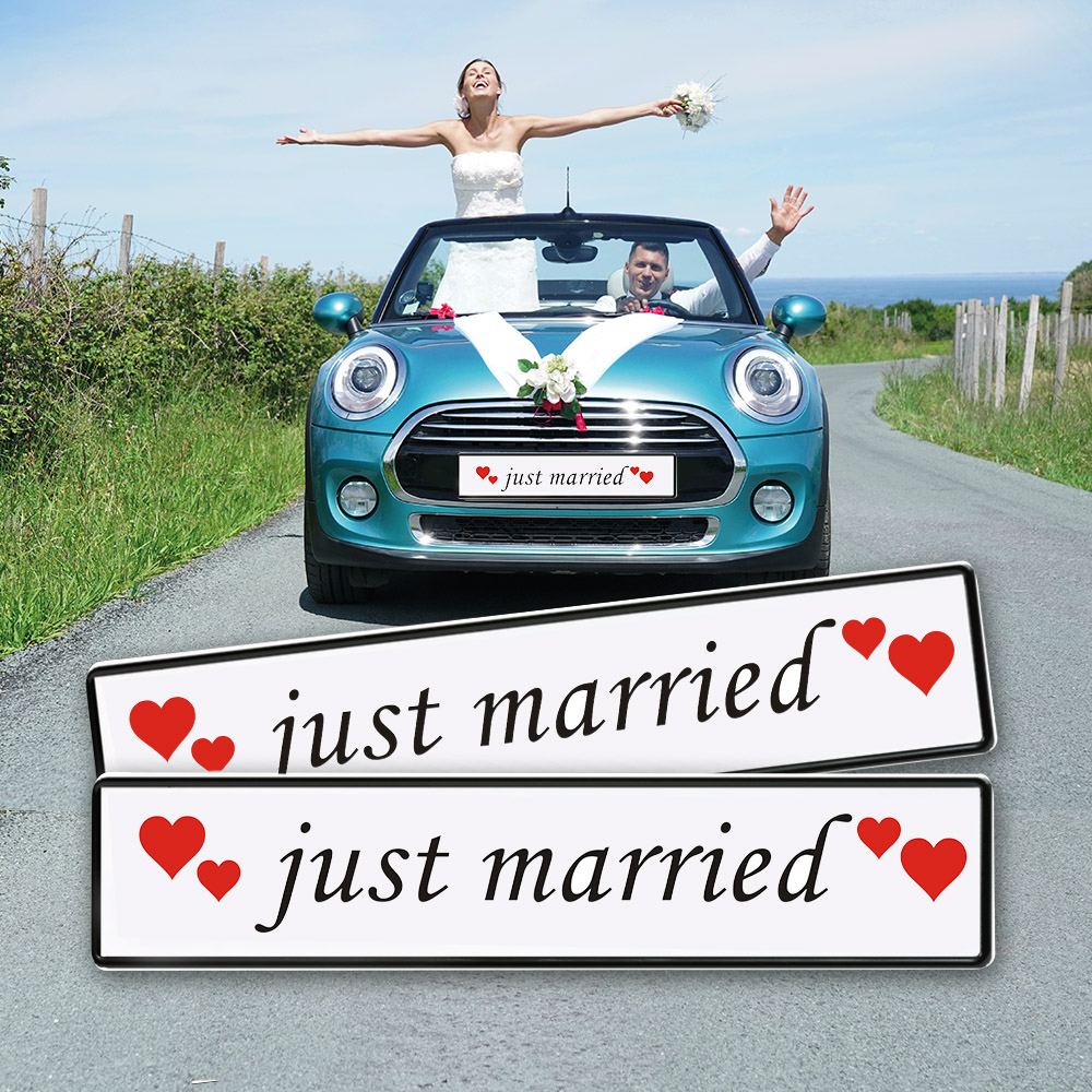 Just Married Schild Auto Hochzeit