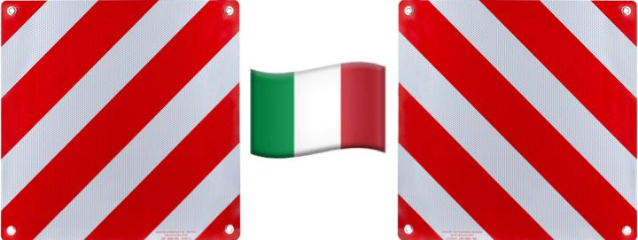 Anordnung für zwei Warntafeln in Italien