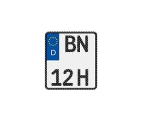 Historisches Kennzeichen für Motorräder in Carbon-Optik