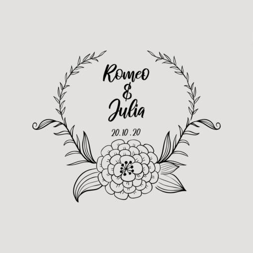 Hochzeitsstempel mit Namen und Datum Blumendesign 201
