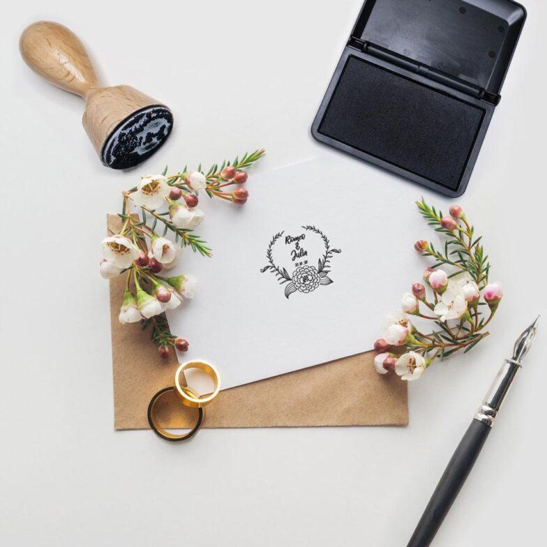 Hochzeitsstempel mit Blumendesign und Namen | Motiv 1
