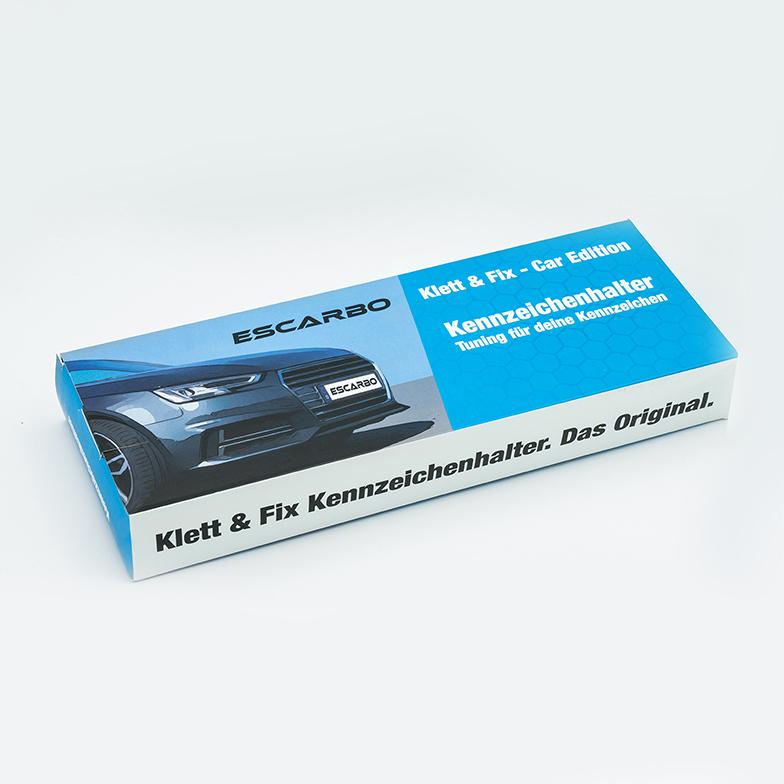 """ESCARBO® Klett-Kennzeichenhalter Auto """"Klett & Fix"""""""