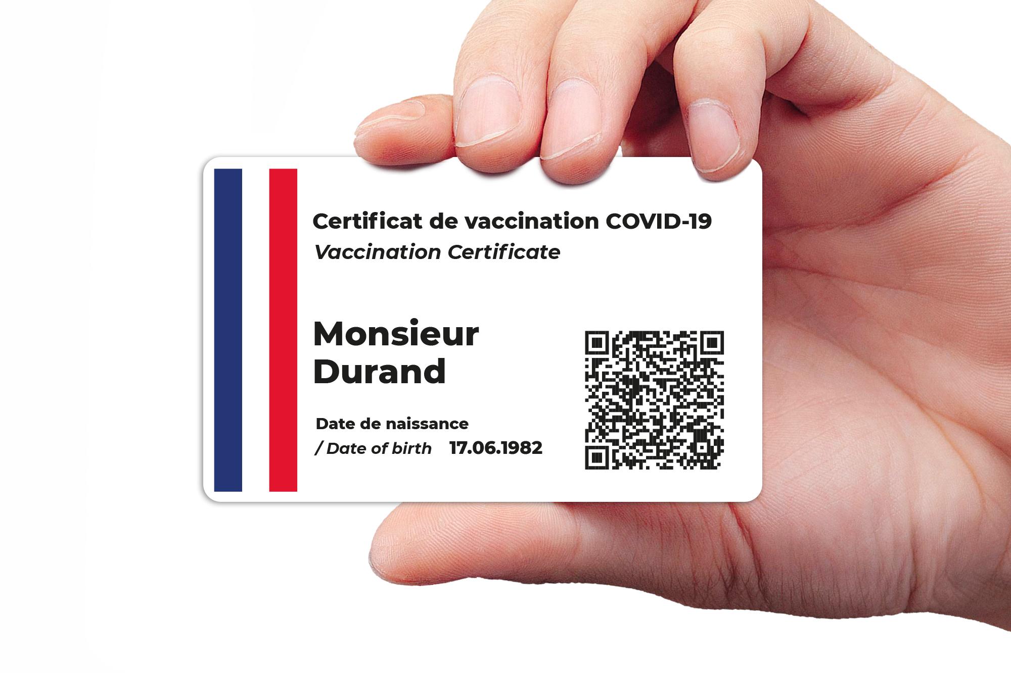 Corona Impfpass drucken Druck Französisch Certificat de vaccination CovPass App als Karte, Corona Warn App